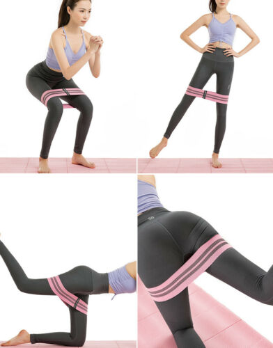 Non Slip Fabric Resistance Bands Butt Exercise Loop Circles Set Legs Glutes Yoga