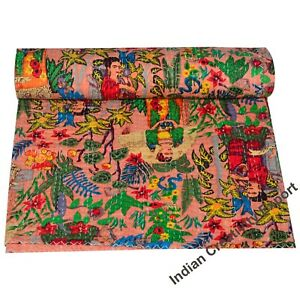 Indian-Kantha-Baby-Quilt-Blanket-Cotton-Throw-Bedspread-Coverlet-Bedcover