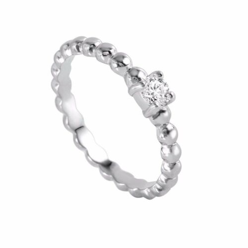 Sterling Silver Rhodium Plated Clear Bead Ring W// diamonds////NEW DESIGN! SZ 5-9