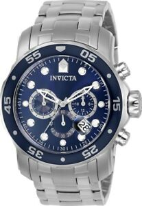 Invicta-0070-Men-039-s-Pro-Diver-Blue-Dial-Chrono-Steel-Dive-Watch