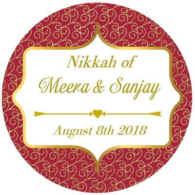 Metodico Personalised Gloss Nikkah Mendhi Matrimonio, Grazie Adesivi Rosso/oro-mostra Il Titolo Originale