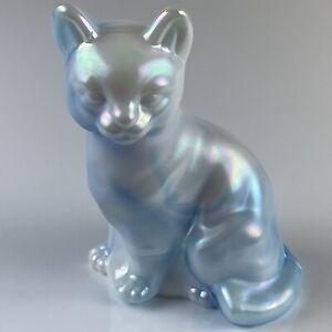 Fenton-Glass-Slag-Blue-amp-White-Iridescent-Carnival-Sitting-Cat-5165-Very-Rare