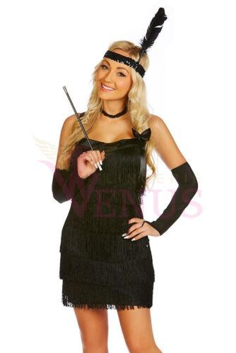 OP 151 Ladies Costume Fancy Dress 1920s Black Flapper Gangster SZ6,8,10,12,14