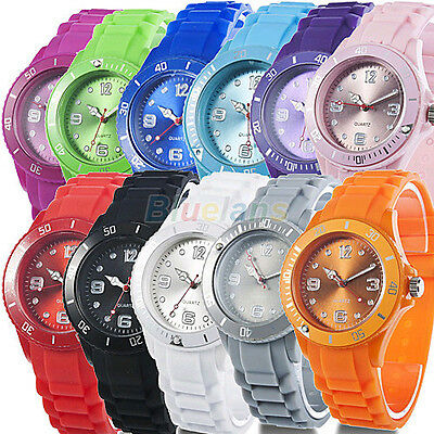 Women Men Colorful Date Analog Silicon Jelly Sport Wrist Watch Classic Gift B32U