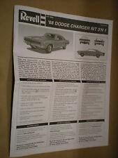 1968 Dodge Charger RT 1/25 Revell Instruction Sheet Model Car Repair Manual YEHA