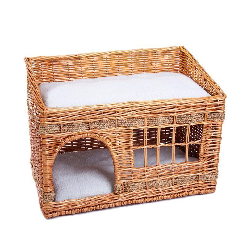forma unica PUEBLO in vimini intrecciato intrecciato intrecciato Cane Gatto Animale Domestico due livelli DEN Letto Cesto Casa Cuscini  tempo libero