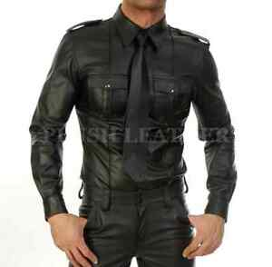 Homme Chaud Véritable Mouton Cuir uniforme de police Bluff Gay Shirt Full manches