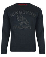 Ringspun New Men's Raised Eagle Crew Neck Sweatshirt Sweat Top Dark Grey Blue