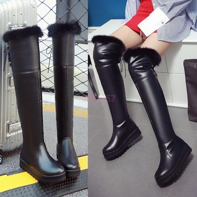 Komfort Damen Schuhe Warmfutter mit dicken Absatz Overkneestiefel NEW Gr 34-43