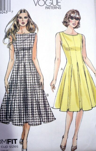 OOP Vogue V8743 Misses Summer Pleated Swing Dress Sewing Pattern Plus Size  16-22