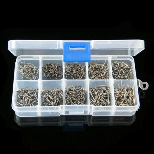 Lot 500Pcs 10 Sizes #3~#12 Fishing Hooks Sharp Carbon Steel Fish Tackle Box Set