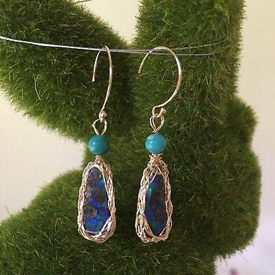 Boulder Opal Earrings 9k Gold