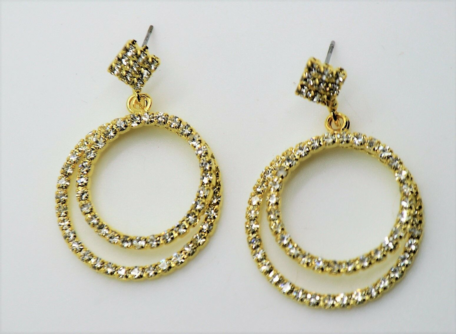 C309 DOUBLE CIRCLE STYLE GOLD CLEAR COLOR WEDDING PARTY FASHION DROP EARRING
