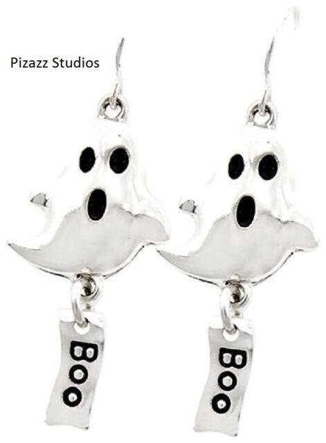 Halloween Dangle Fish Hook Earrings Silver Ghost Boo Holiday Jewelry NWT 12-4