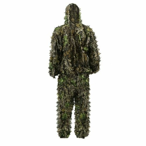 Kids 3D Leaves Ghillie Suit Camo Poncho Outdoor Cloak Stealth for Woodland Hunt