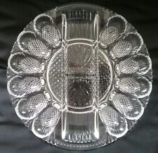 Vintage Indiana Glass Deviled Egg & Relish Plate Diamond Point Platter Clear