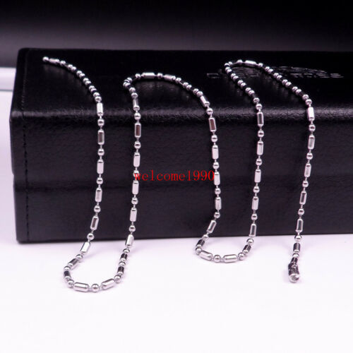 20/'/'-28/'/' in bulk Stainless Steel Rice Beads Chain of Military Dog Tag  Necklace