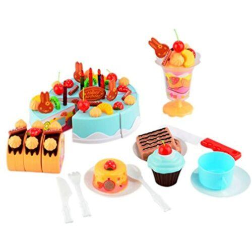 PowerTRC Birthday Cake 75pcs Pretend Play Food Toy Set Blue Toys /& Games