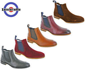 Lambretta-Chelsea-Boots-Twin-Gusset-Mens-Leather-Suede-Moorgate-Ankle-Pull-On