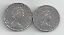 2 DIFFERENT COINS from HONG KONG - 1 & 5 DOLLARS (BOTH DATING 1980)