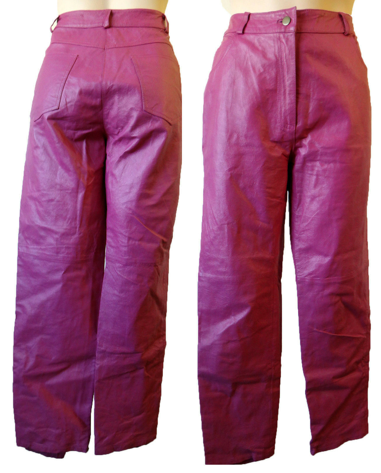 PINK leather jean pant 6 27 hot biker ladies pant motorcycle scooter punk