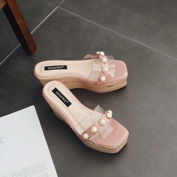 Sandale eleganti sabot zeppa ciabatte 9 rosa comodi simil pelle colorati 9828