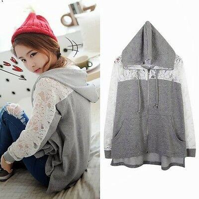 Casual Womens Long Sleeve Lace Patchwork Zip-up Hoodies Sweats Outwear New Tops