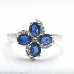 925-Sterling-Silver-Natural-Multi-Gemstone-CZ-Floral-Ring-Women-Gift-Jewelry