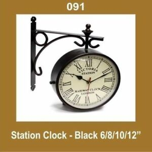 New-Outdoor-Nautical-Black-Station-Wall-Clock-8-039-039-Roman-Number