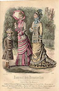 """61/ Gravure De Mode """" Journal Des Demoiselles """" 1877 Superbes Couleurs ! Magasin En Ligne"""