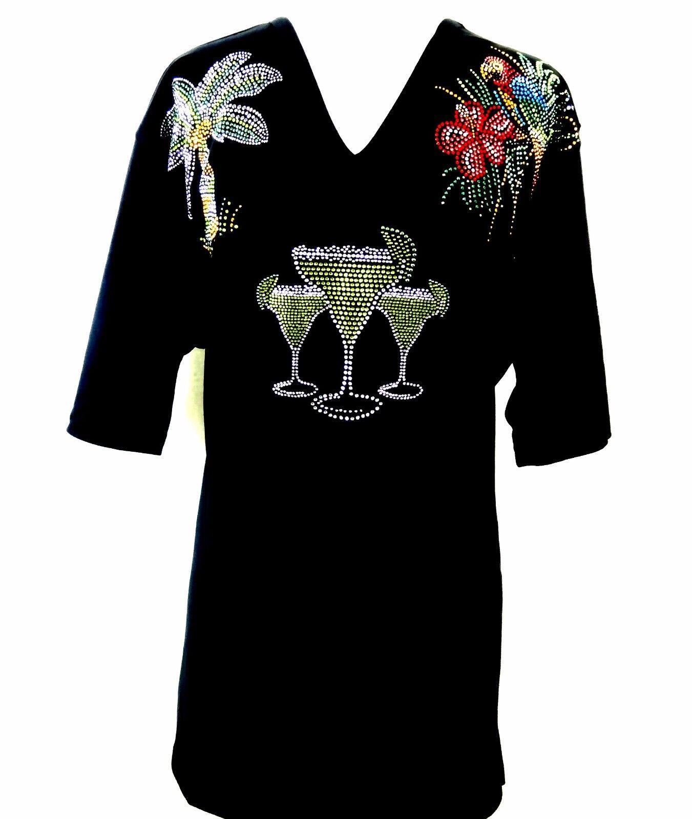 PLUS Größe Hand Embellished Rhinestone Parrot Palm Margarita's Short Sleeve Top