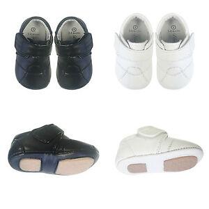 NEW-Baby-Boys-Toddler-Infant-Leather-Shoes-Soft-Sole-Prewalker-Black-White-SZ0-4