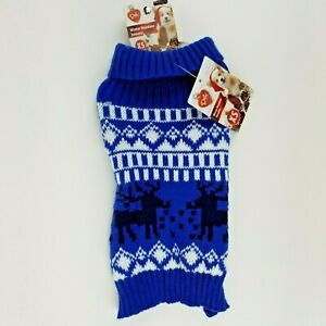 Puppy Dog Blue Christmas Winter Sweater XS Reindeer Fold Down Collar