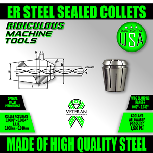 ER 16 Metric Precision Spring Collet 6.0MM 0.0003 Accuracy