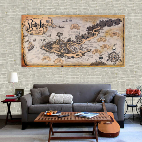Huge Silk Canvas Poster Vintage Pirate Lair Treasure World Map Wall Decor S133