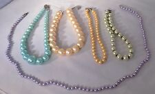 Lot Of 6 Faux Pearl Fashion Necklaces - Pastel Colors - Kissaka