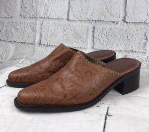 Vintage leather tooled mules sz 7