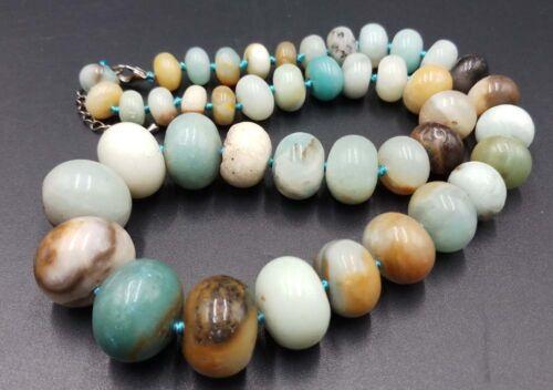 10-20mm 100/% Natural Amazonite Gemstone Abacus Beads Necklace 18/'/' Huge