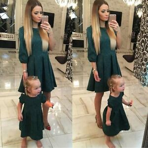 5c76c7c394e UK Mother Daughter Women Girls Summer Party Dress Family Matching ...