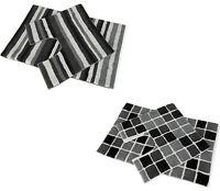 2 PIECE MODERN BLACK/WHITE/GREY BATH MAT SET NON SLIP WASHABLE-STRIPES OR BLOCKS