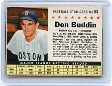 "1961 POST CEREAL #53 DON BUDDIN ""BOX"", BOSTON RED SOX, SET BREAK, 051217"