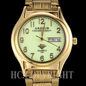 Fantastic-Gold-Plated-Luminous-Dial-Stainless-Steel-Date-Day-Men-039-s-Wrist-Watch
