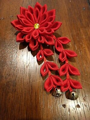 Red Kanzashi Hair Clip Flower with Citrine Swarovski Leaf and Bells- Worn Once!