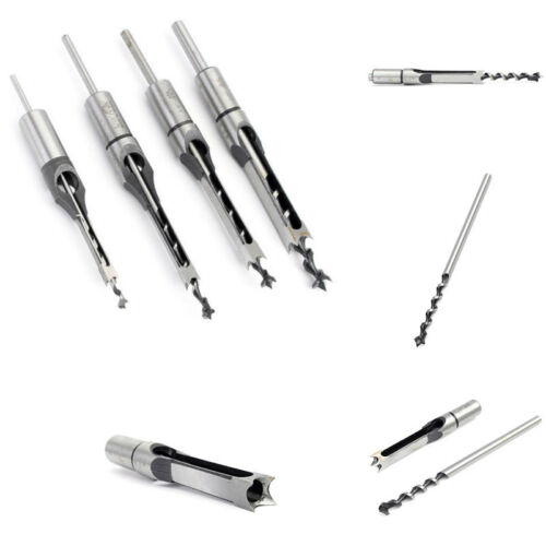 4xSquare Hole Saw Drill Bit Auger Mortising Chisel Carve Woodworking Tools Steel