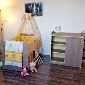 Babyzimmer Komplett Gitterbett Wickelkommode 140x70 Umbaubar 5Farben BraunCAFE