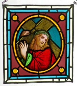 Bleiverglasung-Fensterbild-meisterl-Glasmalerei-19-Jht-Jesus-Christus