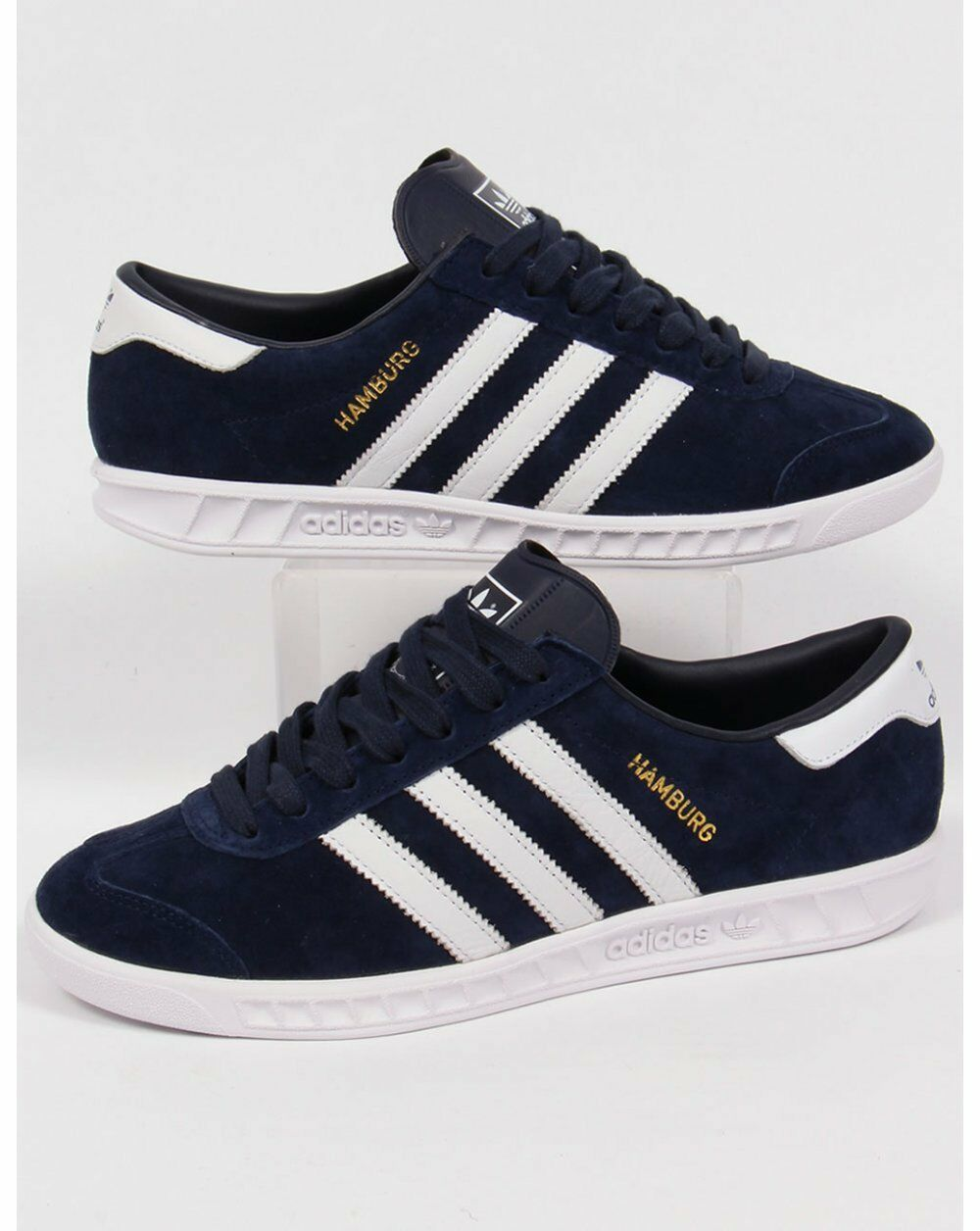 adidas Hamburg Trainers Suede in Navy & Blanco, Suede Trainers - LAST Talla SALE 7730b1