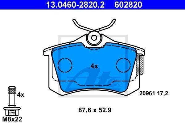 ATE 13.0460-2820.2 Plaquettes de frein pour Audi Seat Skoda VW