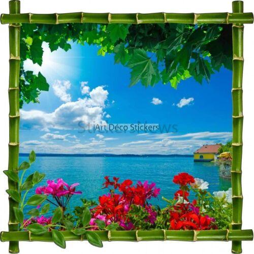 Sticker autocollant Cadre bambou Vue sur mer Tropiques7113