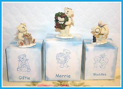 *NEW* BOYDS SET OF 3 LIL WINGS RESIN TEDDY BEAR ANGELS IN BOXES